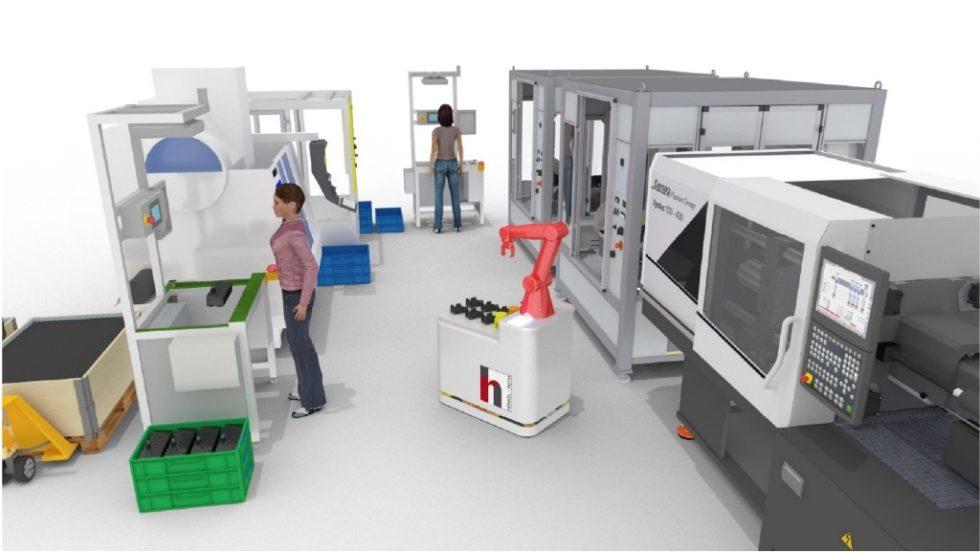 Eine Darstellung der typischen Einsatzumgebung der Mensch-Roboter-Koexistenz Bild: WZL der RWTH Aachen