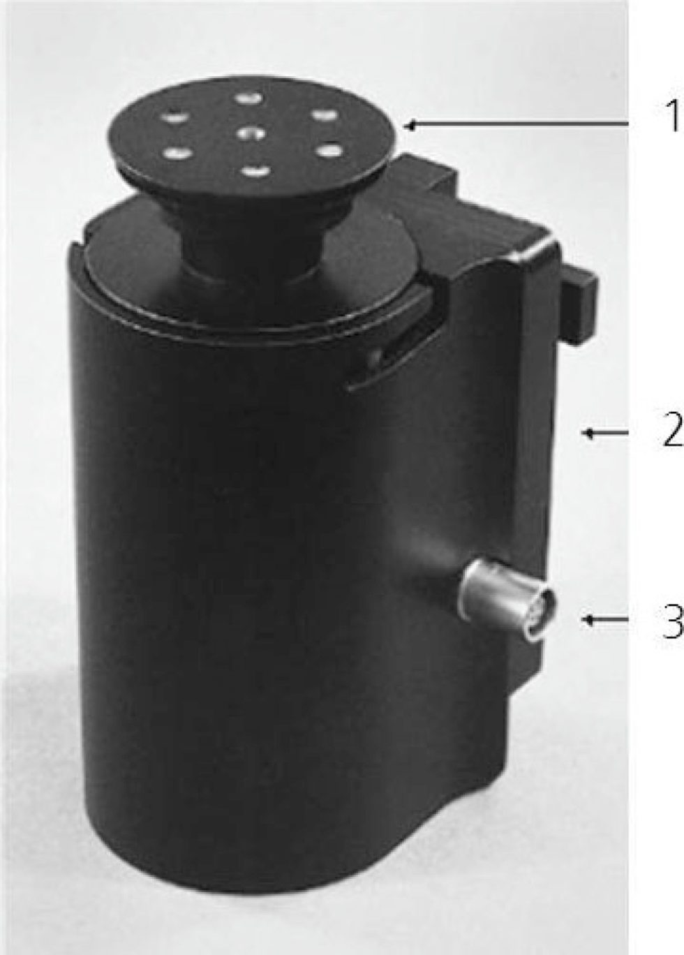 Figure 1.  RESPICON personal aerosol monitor. 1: annular slit inlet, 2: photometer electronics, 3: cable connector. Quelle: ITEM/ BAuA