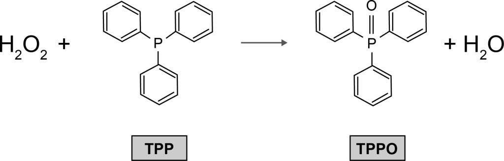 Bild 3. Reaktion zur analytischen Bestimmung von Wasserstoffperoxid. Quelle: BGW/BGN