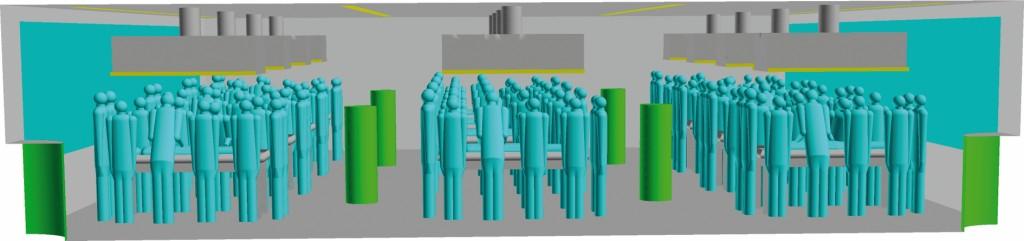 Bild 11. CFD-Modell des Präpariersaals. Quelle: UK NRW / IFA /UKH