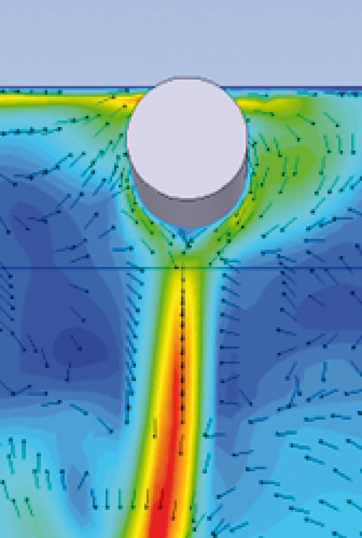Bild 4. Einschnüreffekt am Beispiel eines Textilluftdurchlasses (die Strömungsrichtung wird durch die Pfeile, die Strömungsgeschwindigkeit durch die Farbgebung dargestellt: rot = hohe Geschwindigkeit). Quelle: UK NRW / IFA /UKH