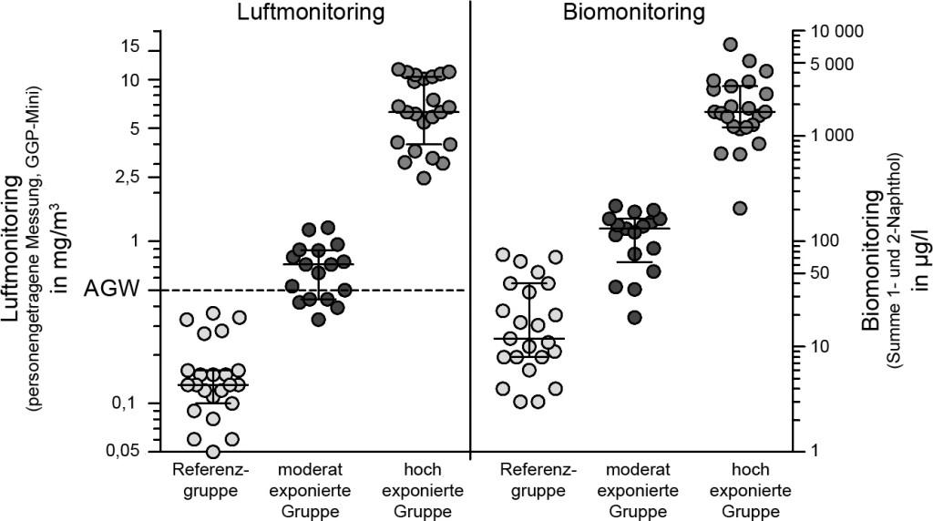 Bild 2. Gruppeneinteilung auf der Basis der Ergebnisse des Luft- und Biomonitorings sowie unter Berücksichtigung der arbeitsanamnestischen Untersuchung. Quelle: IPA/IFA