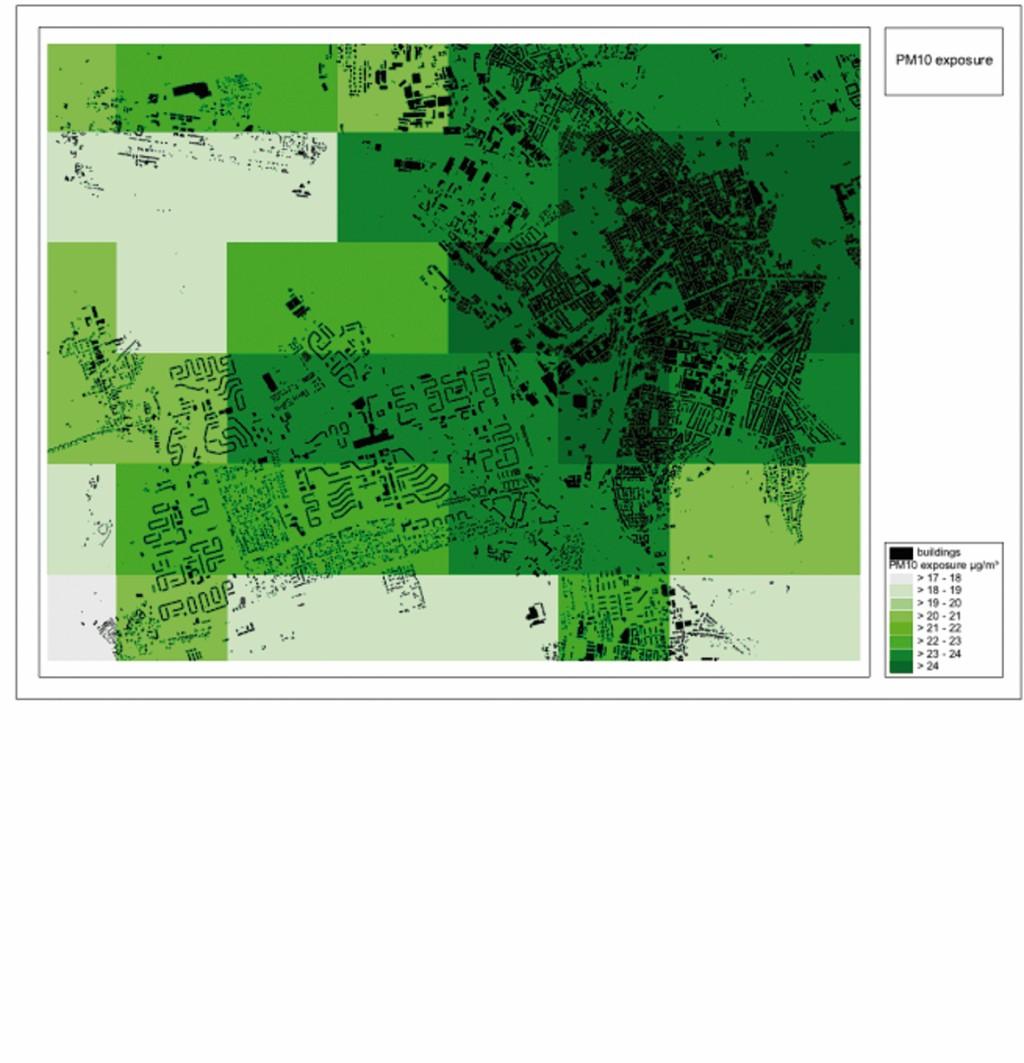 Bild 1 links: Ausschnitt aus der verwendeten Lärmkarte für die Stadt Leipzig und rechts: Messwerte und Interpolation der Partikel‧erfassung PM10 [5]. Jeweils unterlegt sind die Strukturdaten der bebauten Flächen.
