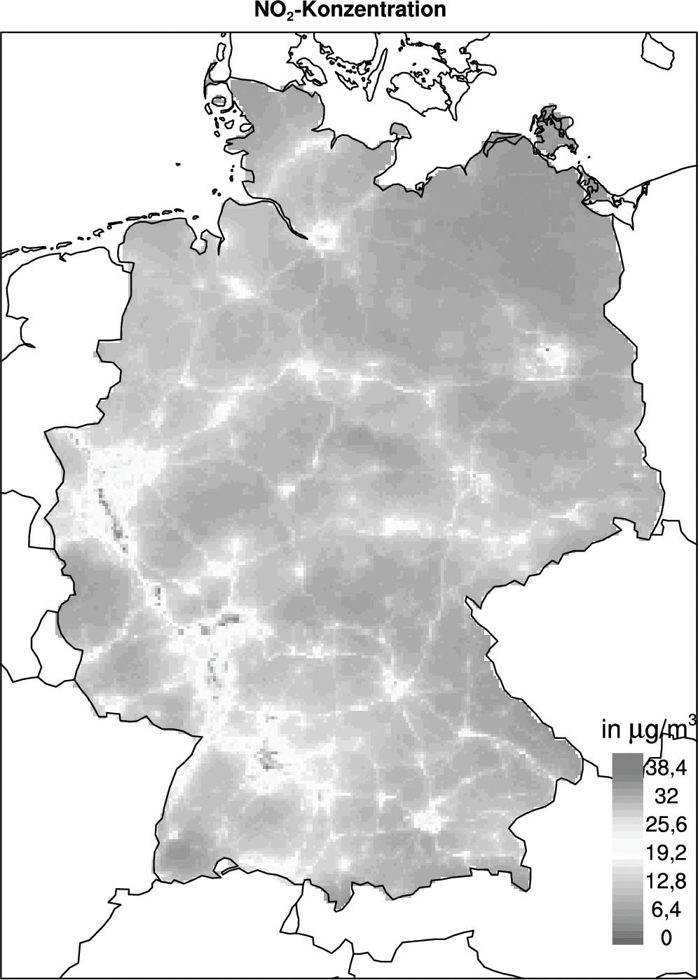 Bild 1. Jahresmittelwert der NO2-Konzentrationsverteilung im Jahr 2015 aus der Modellierungsrechnung mit REM-Calgrid bei einer Auflösung von 2 km x 2 km. Quelle: UBA