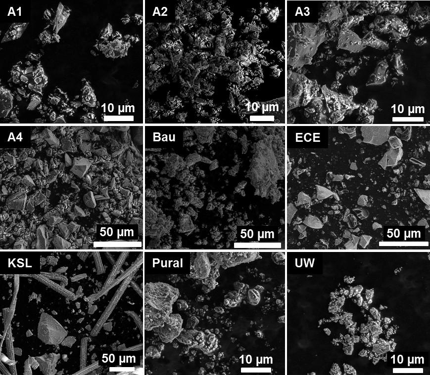 Bild 1. Aufnahmen mit einem Rasterelektronenmikroskop der verwendeten Versuchsmaterialien. Quelle: Bergische Universität Wuppertal