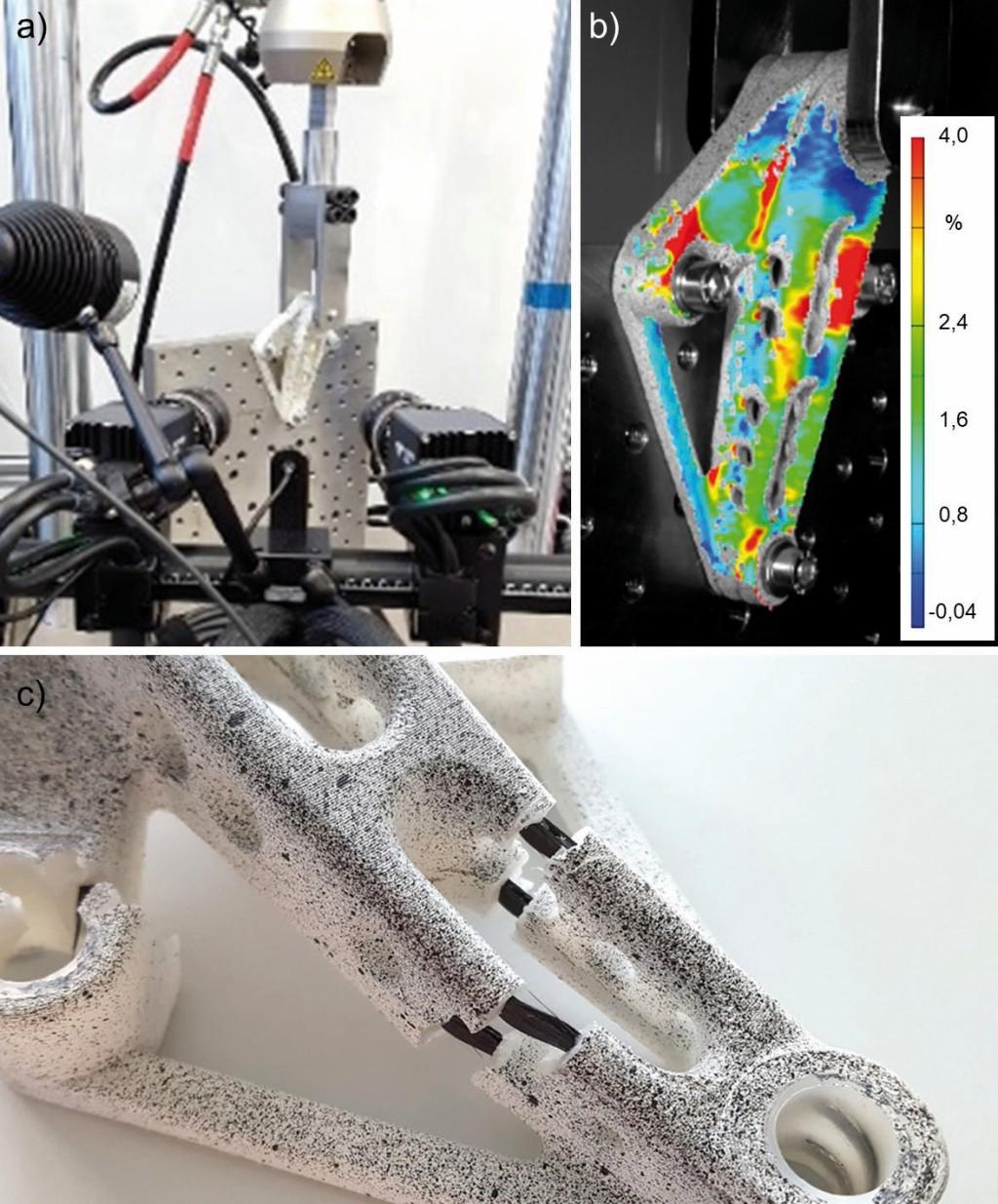 Bild 5. Mechanische Prüfung des Labormusters (a), 3D-Dehnungszustand unter Belastung (b) sowie versagte Probe mit UD-Faserverstärkung (c). Bild: CFK Nord