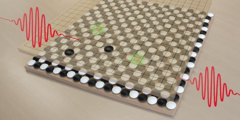 Zwei Elektronen und zwei Löcher werden durch Lichtquanten angeregt und durch einen schachbrettartige Hintergrund zusammengehalten.