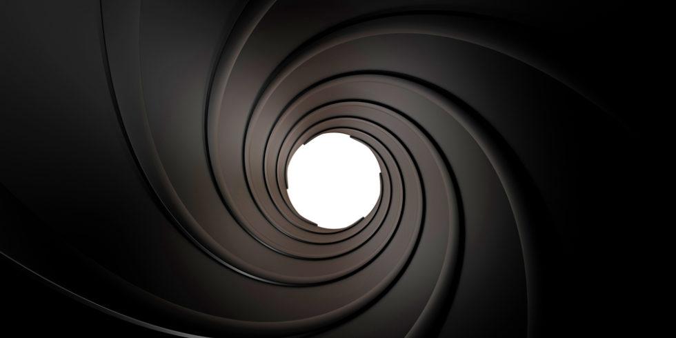 Spiraliertes Innere eines in 3d gerenderten Geschützlaufs