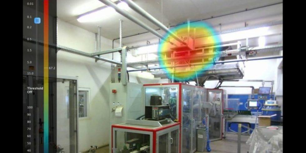 Die akustische Kamera spürt auch noch in einem engen, lärmintensiven Raum die lauteste Maschine auf.