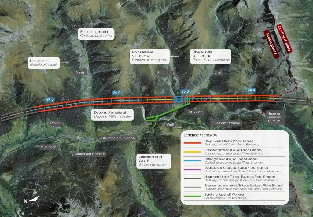 Der Bauabschnitt Pfons Brenner beim Brenner Basistunnel umfasst mehrere Vorleistungen. Foto: PORR