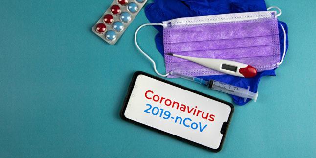 Coronavirus Maske Tabletten Fieberthermometer