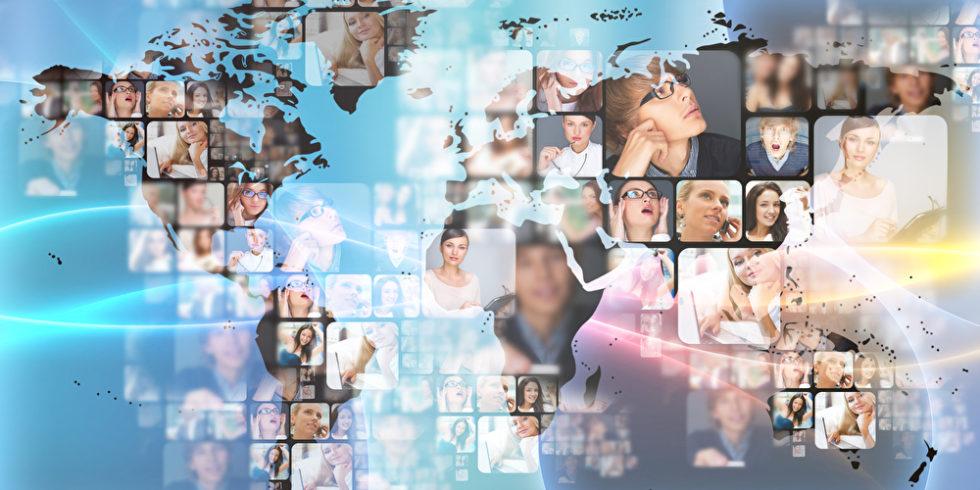 Weltkarte mit Menschen