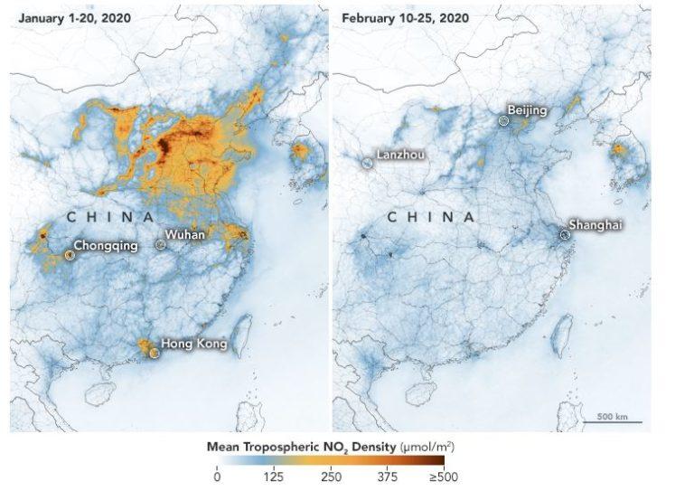 Deutlicher Rückgang des No2-Ausstoßes. Foto: Nasa Earth Observatory