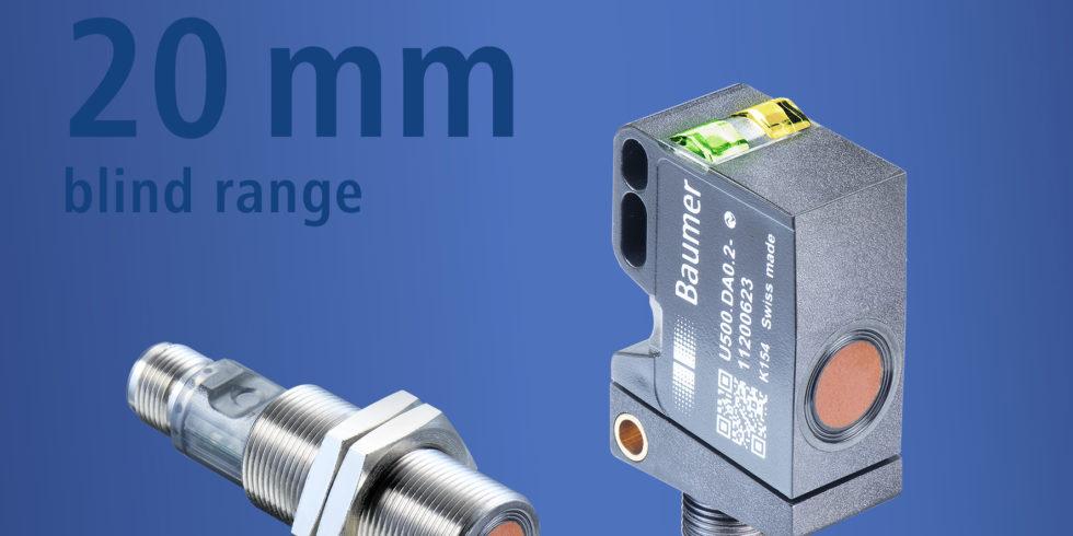 Die Ultraschallsensoren U500 und UR18 von Baumer erreichen mit 20mm den kürzesten Blindbereich in der 1000-mm-Klasse. Foto: Baumer