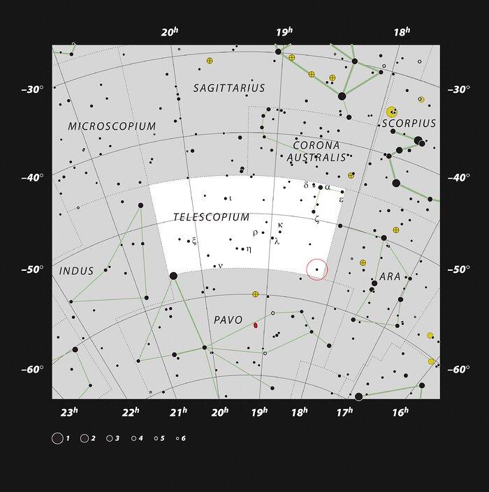 Diese Karte zeigt das HR 6819-System, in dem sich das Schwarze Loch befindet. Foto: ESO, IAU and Sky & Telescope