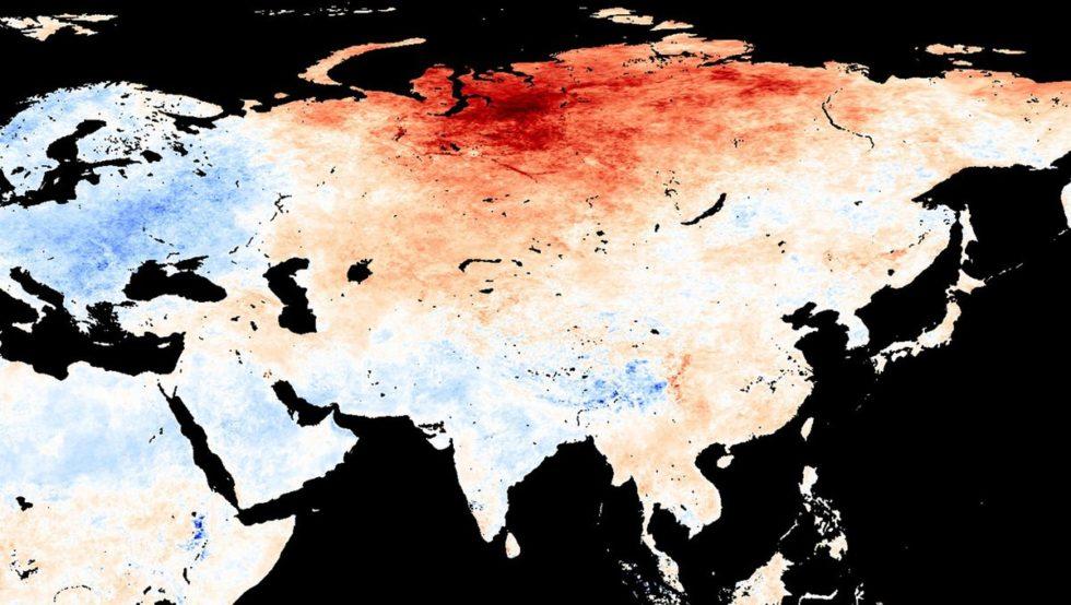 Grafik Nasa hohe Temperaturen in Sibirien