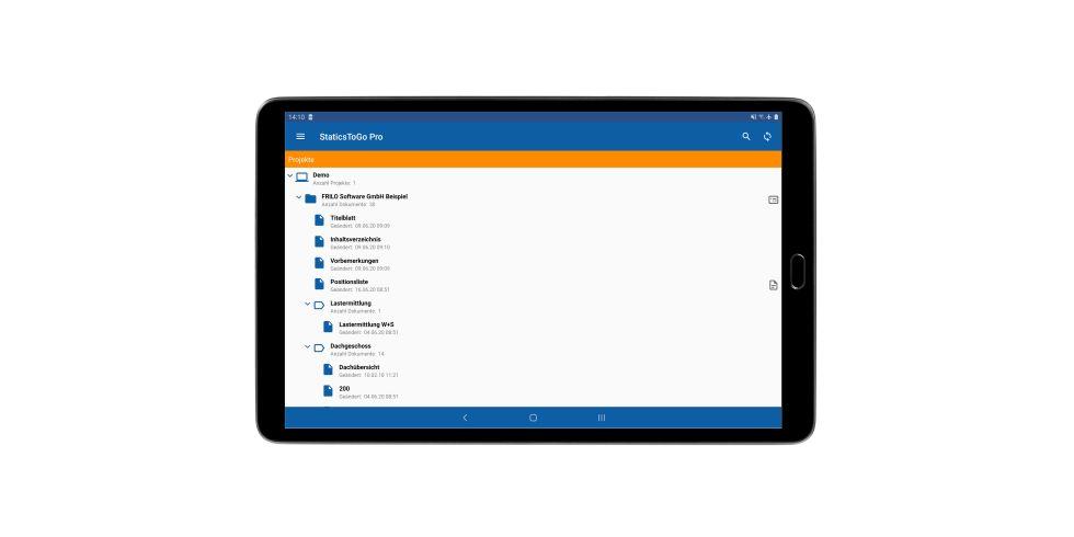Die Dokumentenstruktur in StaticsToGo entspricht der auf dem Desktop. Foto: FRILO Software GmbH