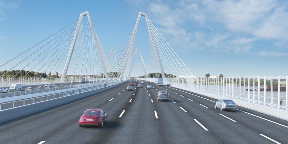 Das Gerüst der neuen Rheinbrücke