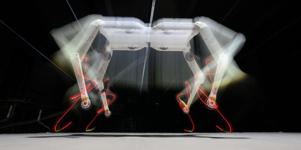 Der vierarmige Roboter Solo 8 springt aus dem Stand in die Höhe: ein Bewegungsmuster, das man von Hunden kennt. Foto: Max-Planck-Instituts für Intelligente Systeme / W. Scheible/MPI für Intelligente Systeme
