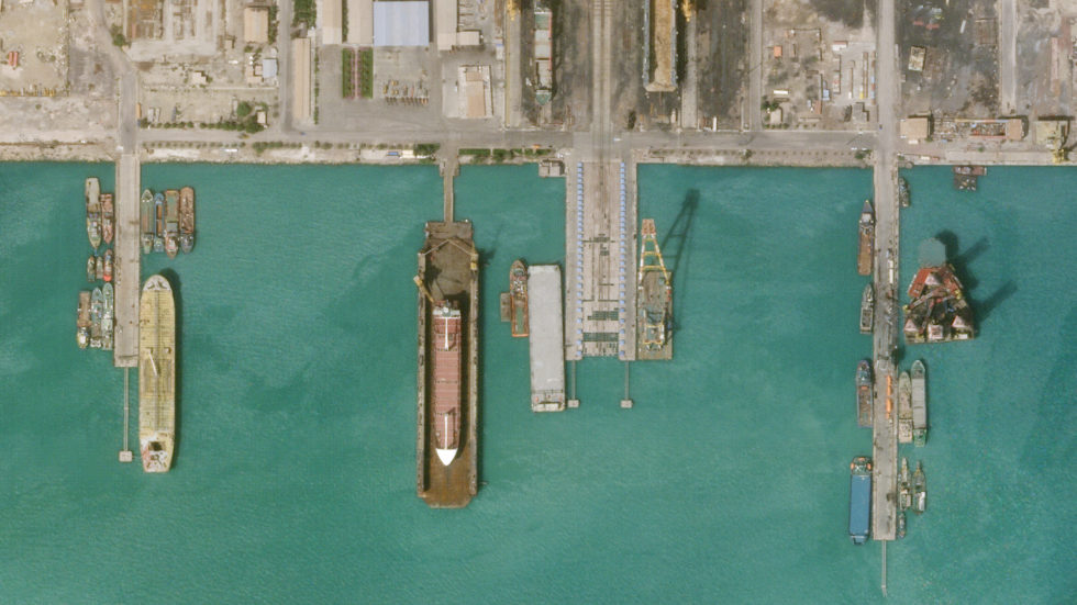 Satellitenaufnahme von der Felseninsel Hormus, Iran