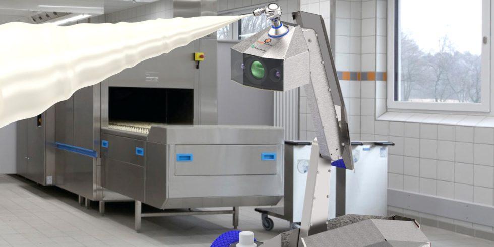 Der neue, mobile Reinigungsroboter im Einsatz. Foto: Fraunhofer IVV