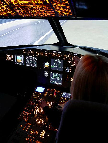 Im Flugsimulator Cockpit Aussicht