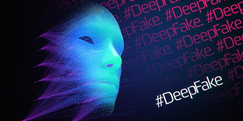 Deep Fake Schriftzug mit Cybergesicht