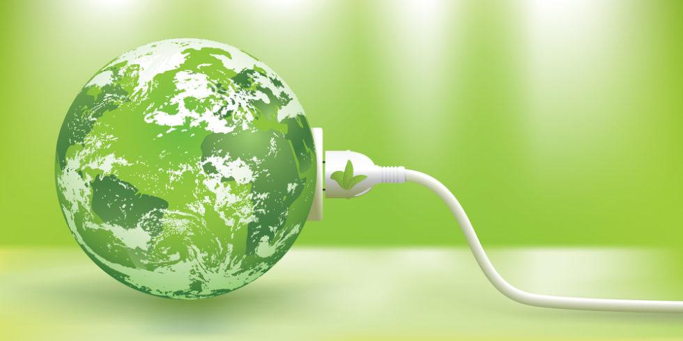 grüne Erde mit Stecker