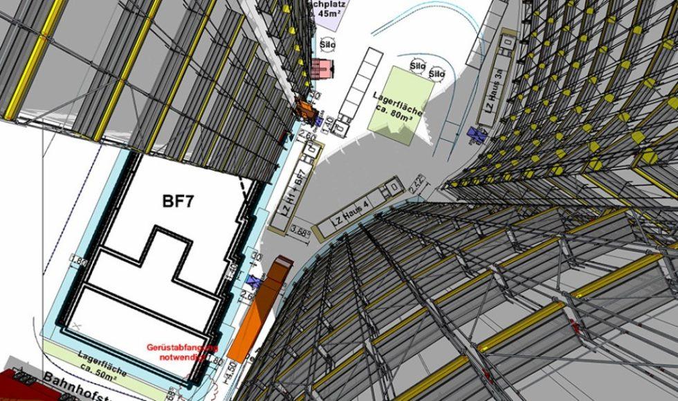 Die 3D-Visualisierung der Sedelhöfe in Ulm konnte mit scaffmax erstellt werden, Grafik: Schäfer Gerüstbau GmbH