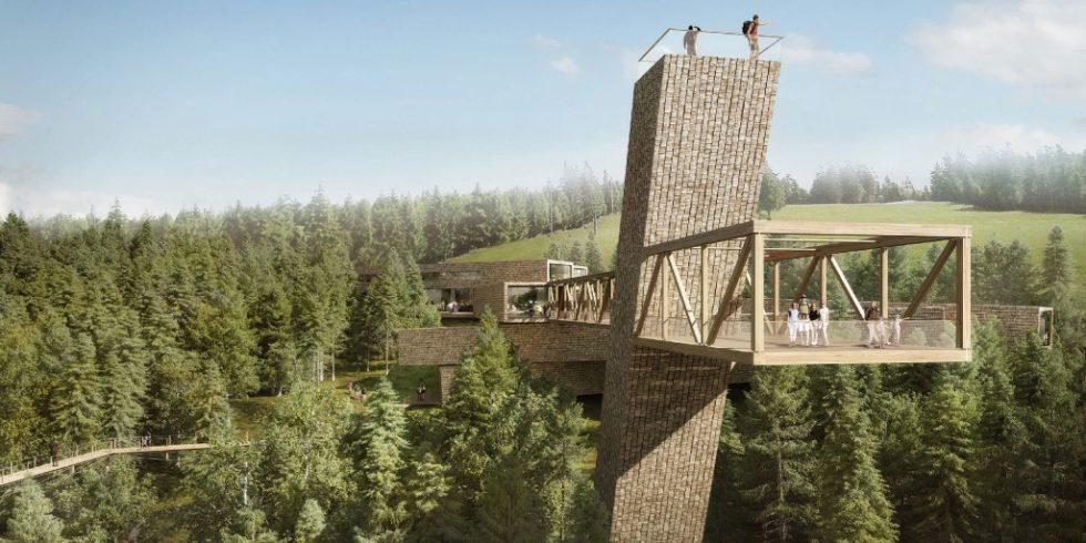 Der Holzbau des Besucher- und Informationszentrums des Nationalparks Schwarzwald erinnert an das Totholz im Wald. Grafik: Bloomimages