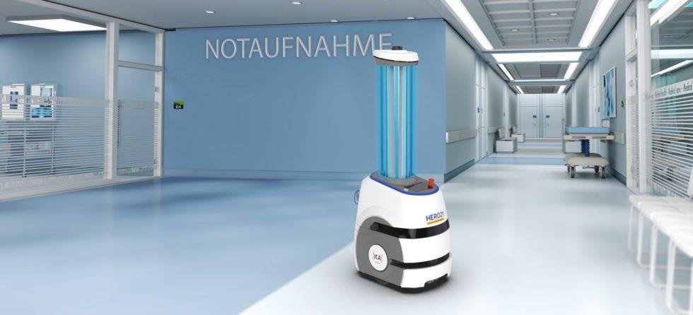 """Der Hygiene-Roboter """"Hero21"""" soll auch das Corona-Virus unschädlich machen. Foto: ICA Traffic"""
