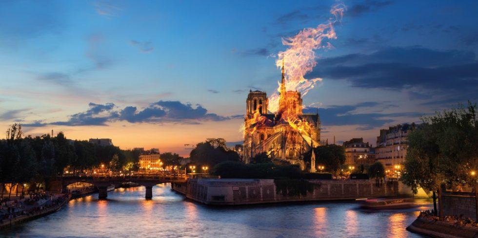Das Feuer, das auf dem Dachboden der Kathedrale von Notre-Dame ausbrach, wurde zum Großbrand, mit dem die Feuerwehr tagelang kämpfte. Quelle: PantherMedia/ Givaga