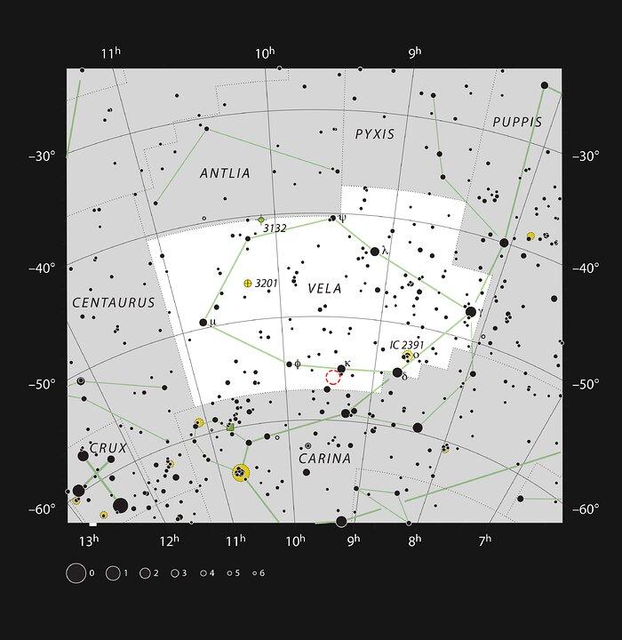 Diese Karte zeigt die Lage des Planetarischen Nebels NGC 2899 im Sternbild Vela
