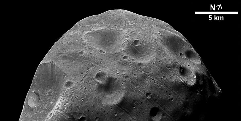 Der Mars-Mond Phobos: Als er an der Sonne vorbeizog, konnten Forschende der ETH Zürich ein unerwartetes Signal feststellen. ESA/DLR/FU Berlin (G. Neukum)