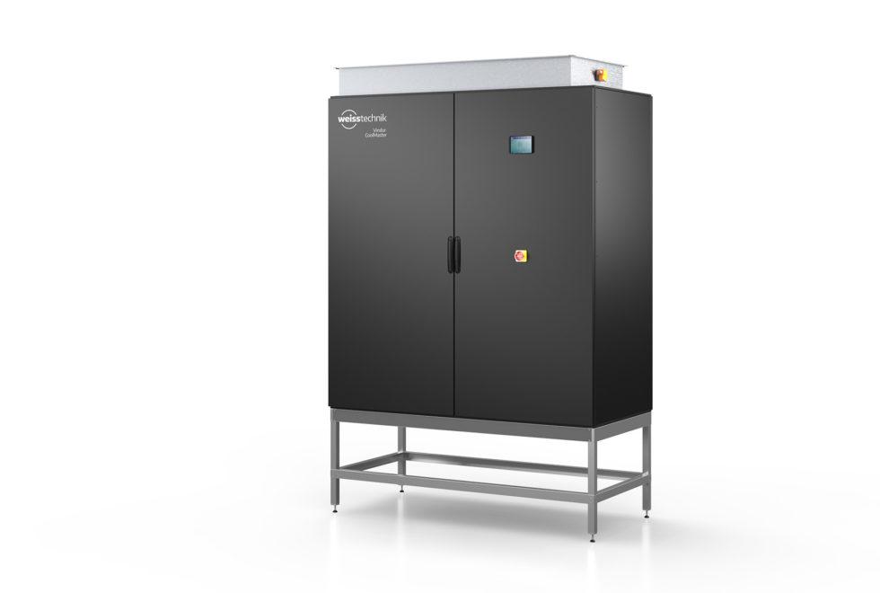 Der Vindur® CoolMaster DX iFC von Weiss Klimatechnik kombiniert zwei Kühlsysteme. Er nutzt die kalte Außenluft durch indirekte freie Kühlung, bei höherer Umgebungstemperatur erfolgt mechanische Kühlung mit wassergekühlter Direktverdampfung. Foto: Weiss Klimatechnik GmbH