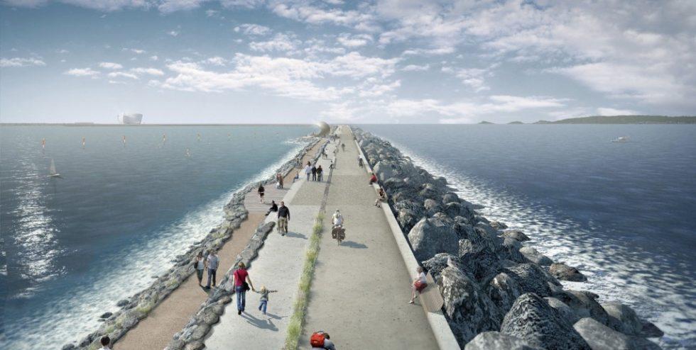 """Illustration des Walls für das geplante Gezeitenkraftwerk """"Swansea Bay Tidal Lagoon"""" an der ‧Südküste von Wales im Vereinigten Königreich.Bild: Tidal Lagoon Power Ltd."""