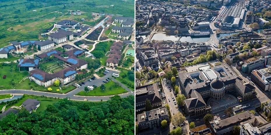 Links ist die Asheshi-Universität in Ghana zu sehen, auf der rechten Seite ist das Hauptgebäude der ETH Zürich abgebildet.