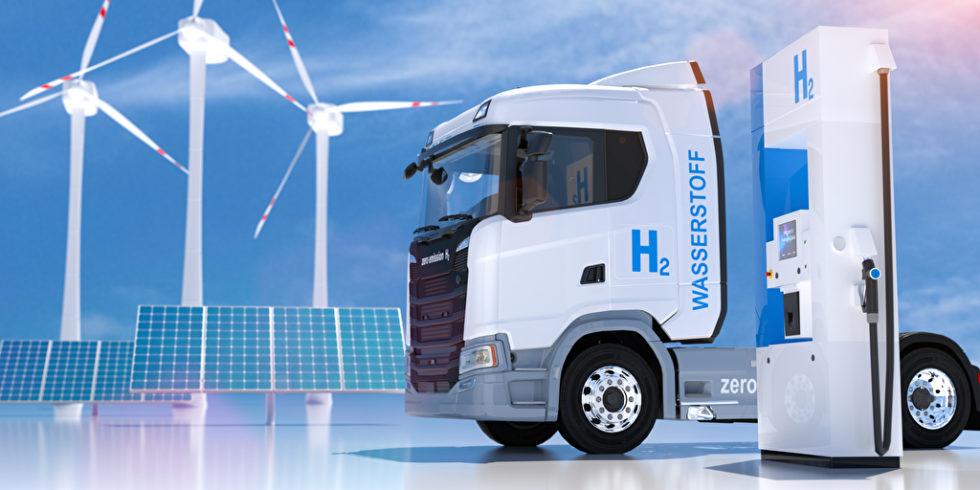 Windräder, Truck und Wasserstoff-Ladesäule