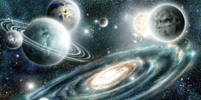 Außerirdische Planeten Sonnensystem auf einem Hintergrund Spiralgalaxie