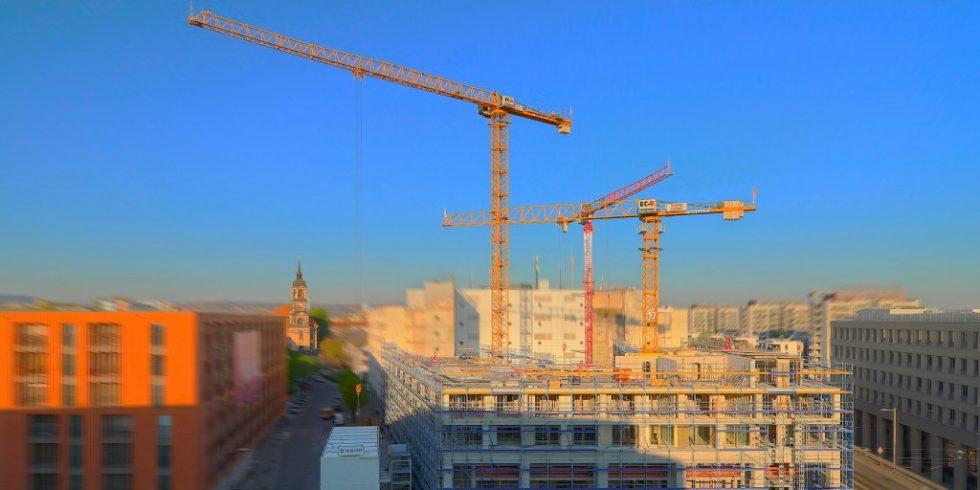 Die Innenstadtlage in Dresden ist eine Herasufordeurng für die Baustellenlogistik. Foto: WOLFF & MÜLLER