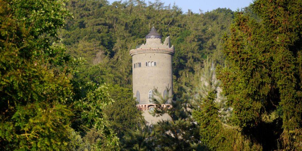 Für die Löwenburg wurde 4.500 Mauerstein-Unikate in Kleinarbeit aus Tuff-Betonblöcken herausgeschnitten. Foto: Dyckerhoff