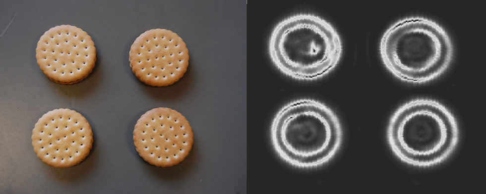 Mit Radar konnten Ingenieure Glaspartikel in Schokokeksen nachweisen (links: Originalprodukte, rechts das Ergebnis der Untersuchung).<br />Foto: Fraunhofer FHR