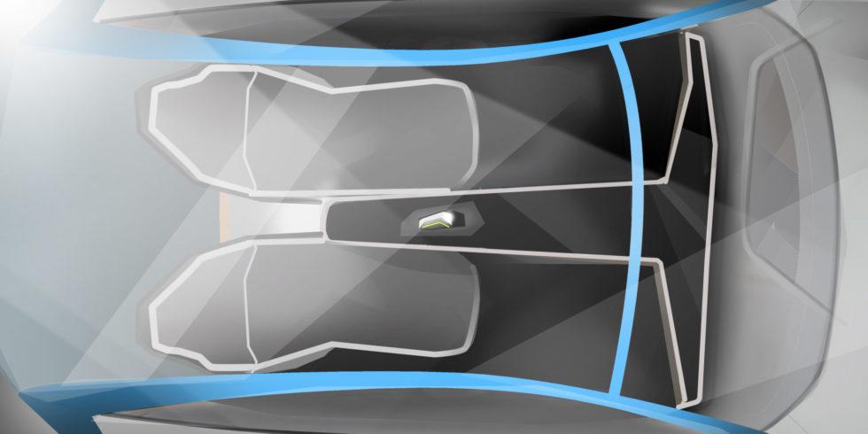 """Eine flexible Fahrgastzelle – das Herzstück des Mobilitätskonzepts """"Vision Pi"""".  Foto: Fraunhofer IAO"""