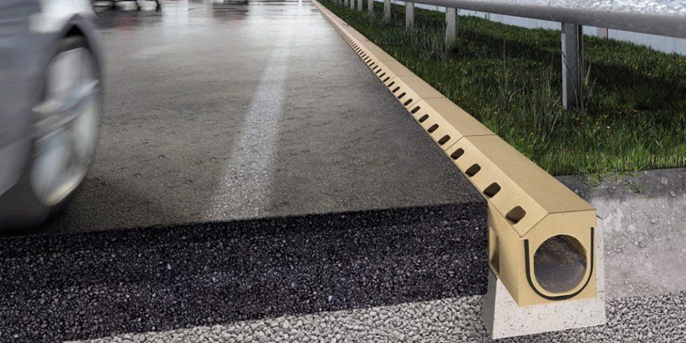 Bordstein und Entwässerungsrinne werden auch bei Bundesverkehrswegebau eins. Foto: ACO