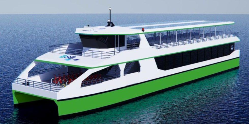 Entwurf für die geplanten elektrisch betriebenen Passagierschiffe der BodenseeSchiffsbetriebe (BSB). Foto: BSB