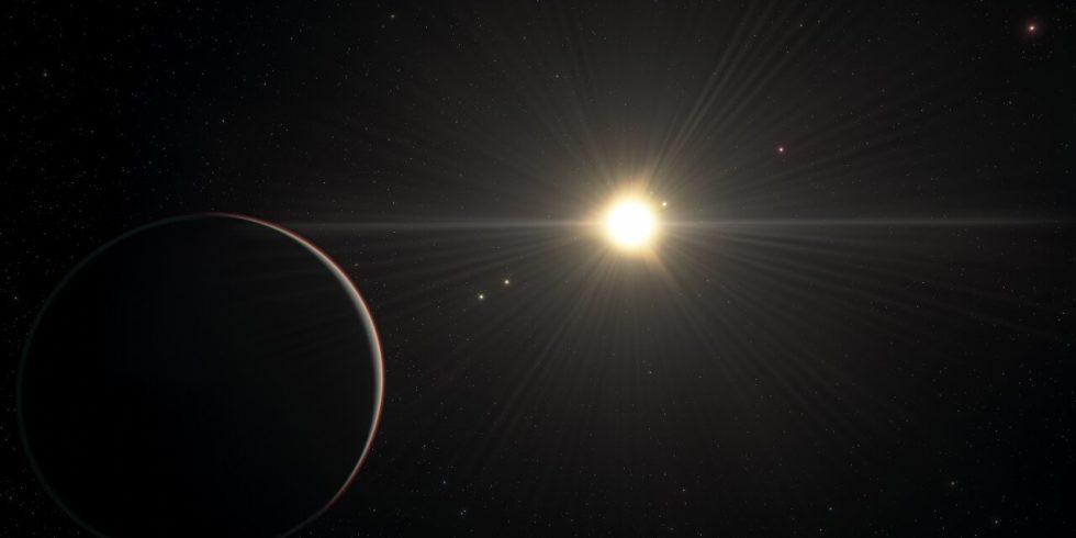 Die künstlerische Grafik zeigt den Blick vom Planeten im TOI-178-System, der am weitesten vom Stern entfernt ist. Die Exo-Planeten zeigen auf ihren Umlaufbahnen einen merkwürdigen Rhythmus. Foto: ESO/L. Calçada/spaceengine.org