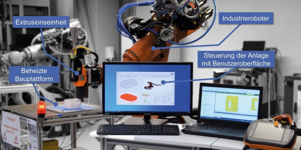 Roboterbasierte Anlage zur additiven Fertigung großvolumiger Kunststoffbauteile. Foto: KIT