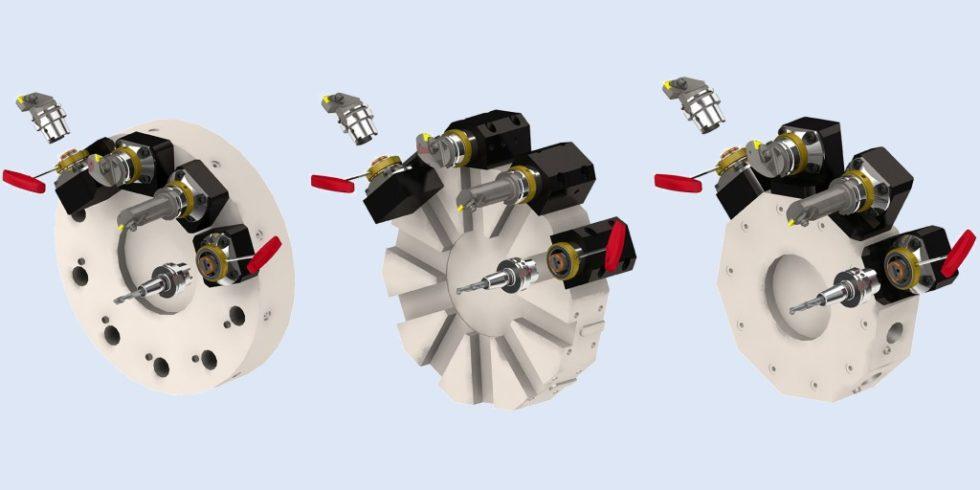 Ob Scheiben-, Universal- oder Stern-Werkzeugrevolver: Das innovative Werkzeug-Schnellwechselsystem lässt sich problemlos an alle Revolvertypen adaptieren. Grafik: Schaublin