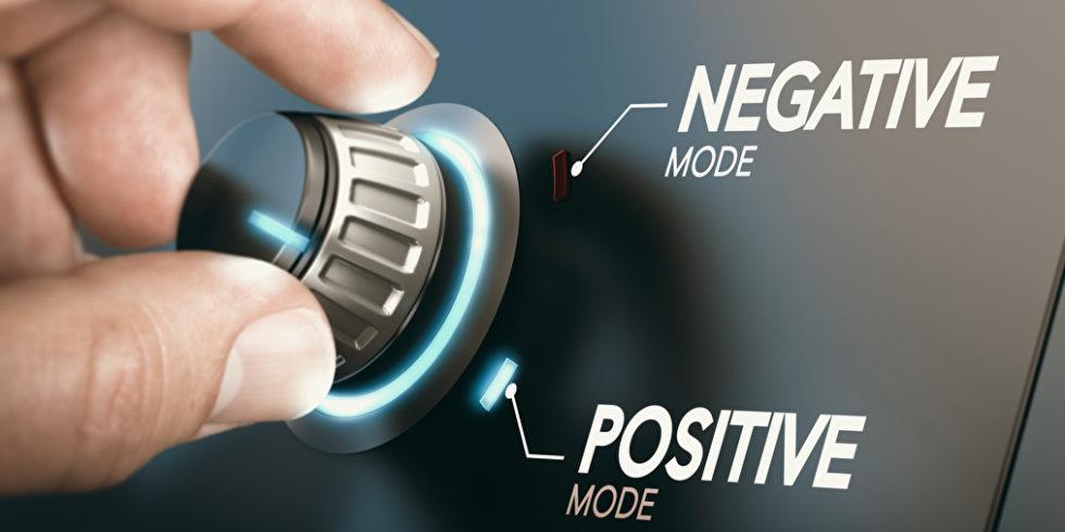 Knopf drehen negative positive Mood