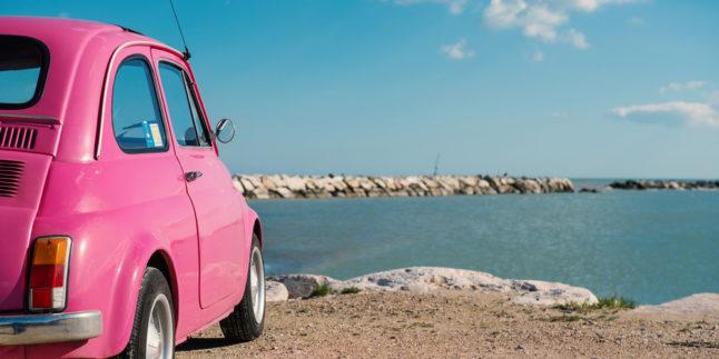 Rosa Fiat an Klippe